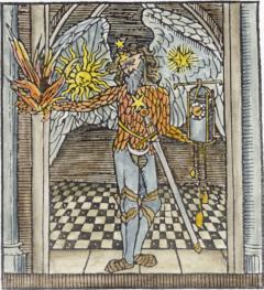 Woodcut Chronos As An Angel From Stephen Hawes The Pastyme Of Pleasure 1509, Emblems Related To Alchemy